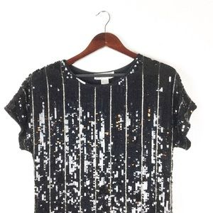 Vintage 80s Black & Silver Sequin Dress